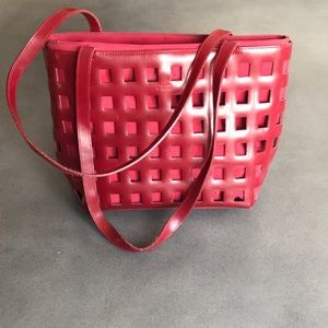 Holt Renfrew cherry red cut out handbag